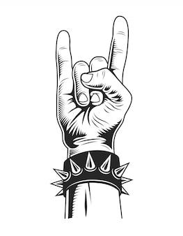 Concepto de gesto de rock monocromo vintage
