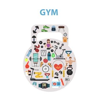 Concepto de gimnasio plana