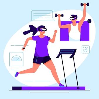 Concepto de gimnasio virtual con gafas vr