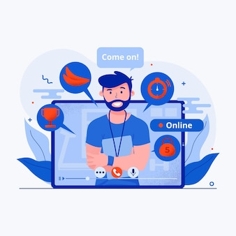Concepto de gimnasio virtual ilustrado