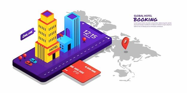 Concepto global de reserva de hotel comprando billete online con smartphone