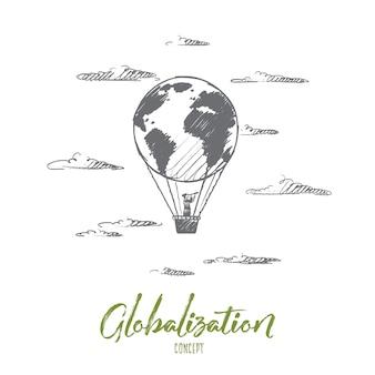 Concepto de globalización. globo volador dibujado a mano con el hombre. globo en forma de globo aislado ilustración.