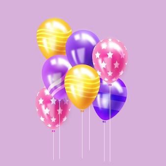 Concepto de globos realistas para celebración de cumpleaños