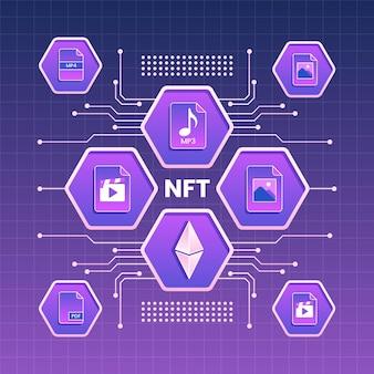 Concepto de gradiente nft con diferentes elementos.