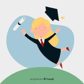 Concepto  de graduación con estudiante feliz