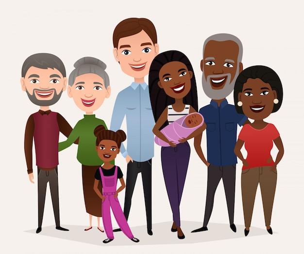 Concepto de gran familia feliz de dibujos animados