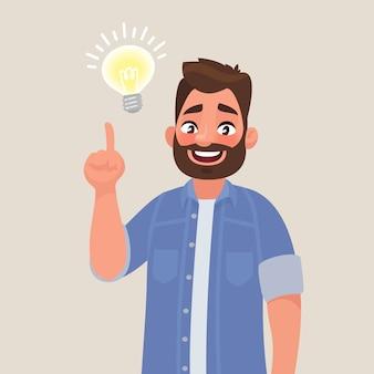 Concepto de una gran idea. el hombre muestra gesto. solución del problema