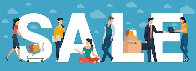 Concepto de gran venta para encabezado del sitio web, tarjeta de felicitación y banner, plantilla de presentación. personajes de personas de diseño plano con letras blancas