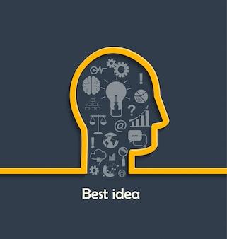 Concepto de grandes y mejores ideas.