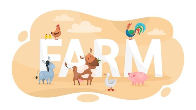 Concepto de granja. idea de la vida en el campo.