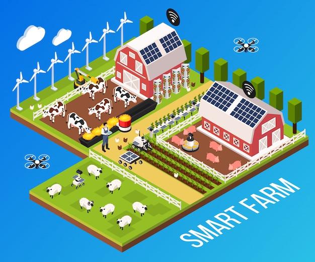 Concepto de granja inteligente con tecnología y ganado, ilustración vectorial isométrica