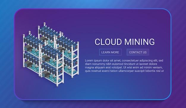 Concepto de granja de minería de moneda digital isométrica 3d o criptomoneda en estilo moderno degradado suave.