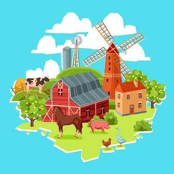 Concepto de granja multicolor