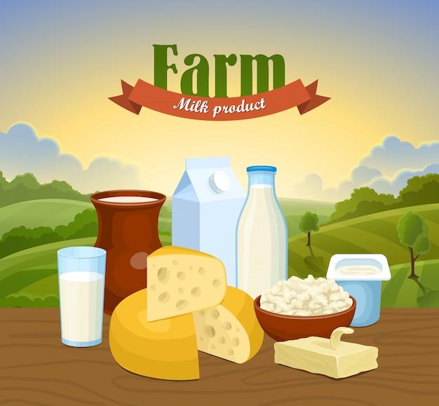 Concepto de granja natural de leche.