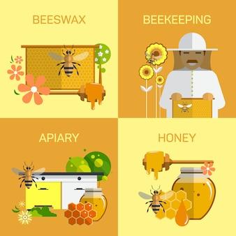 Concepto de granja orgánica de miel de abeja. ilustración del vector en el diseño de estilo plano. elementos de diseño de jardín apicultor. insecto, célula, nido de abeja y cera de abejas.