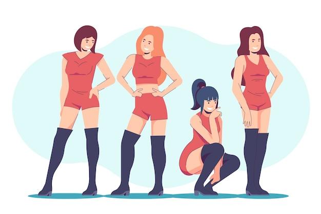 Concepto de grupo de chicas k-pop