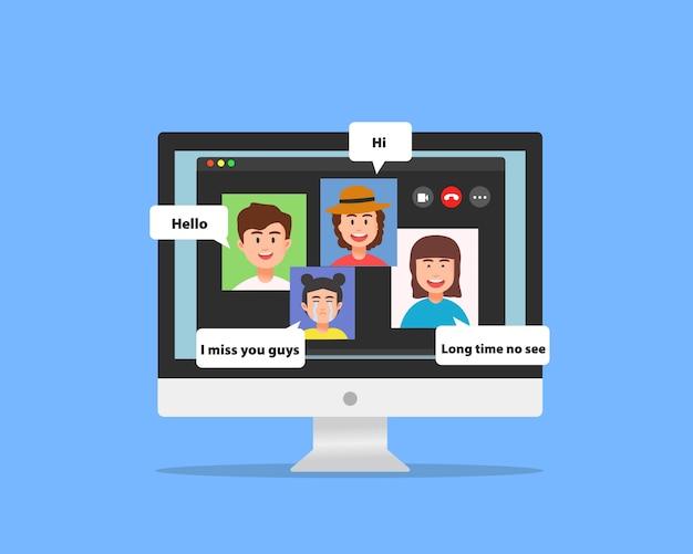 Concepto de grupo de video chat entre amigos