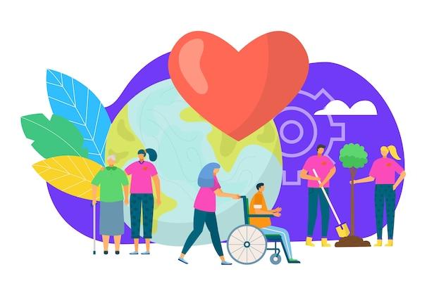 Concepto de grupo de voluntarios, ilustración. voluntariado, caridad, personas y ecología. grupo de voluntarios plantando árboles en el parque, cuidado de ancianos. organización y participación de voluntarios.