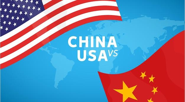 Concepto de guerra comercial de china y estados unidos. economía internacional del arancel de cambio global empresarial. ilustración de la bandera de china y estados unidos.