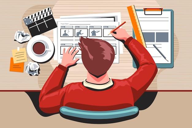 Concepto de guión gráfico con hombre en el escritorio