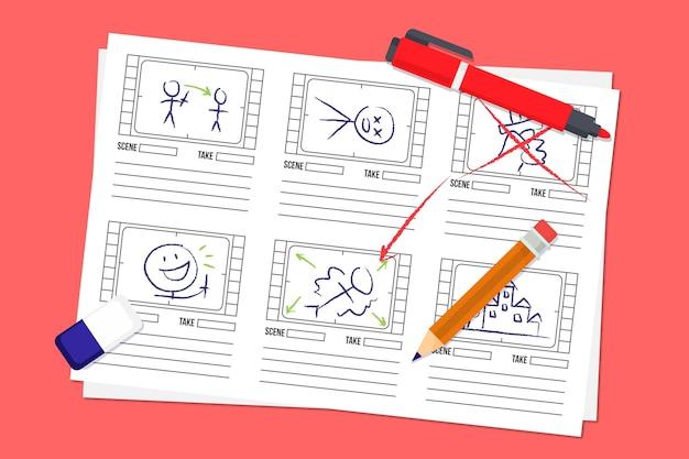 Concepto de guión gráfico con lápiz y marcador