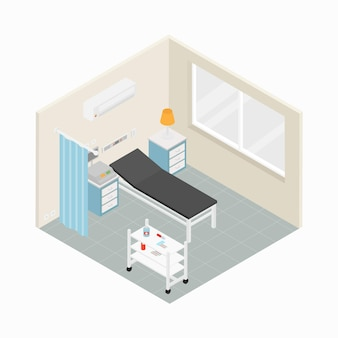 Concepto de habitación de hospital isométrica