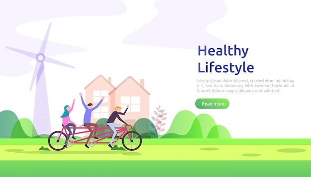 Concepto de hábitos de estilo de vida saludable y activo. ilustración de nutrición de alimentos de dieta con carácter. ejercicio y entrenamiento deportivo entrenamiento al aire libre para página web, presentación, promoción social o medios impresos