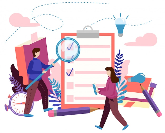 Concepto para hacer lista, lista de verificación, trabajo terminado, proceso creativo