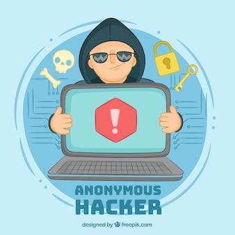 Concepto de hacker anónimo dibujado a mano