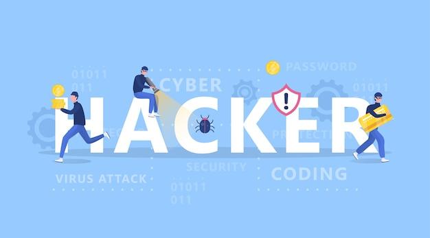 Concepto de hacker. los ladrones atacan la computadora, roban datos personales