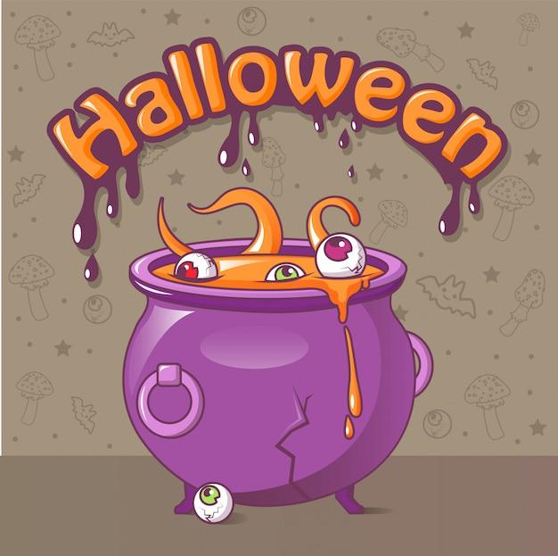 Concepto de halloween, estilo de dibujos animados