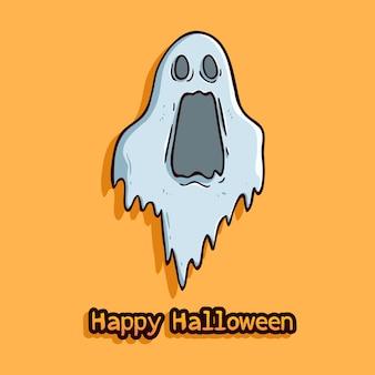 Concepto de halloween feliz con expresión de fantasma sorprendido sobre fondo naranja