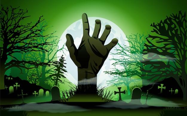 Concepto de halloween, mano zombie