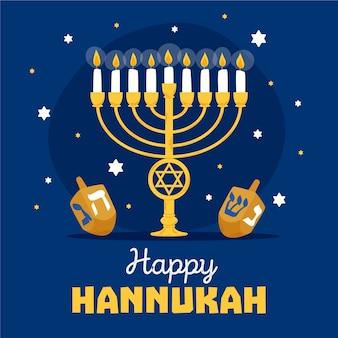 Concepto de hanukkah en diseño plano