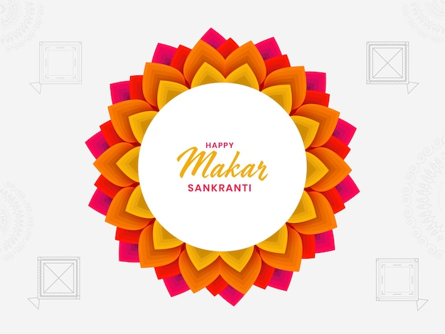 Concepto happy makar sankranti con mandala floral