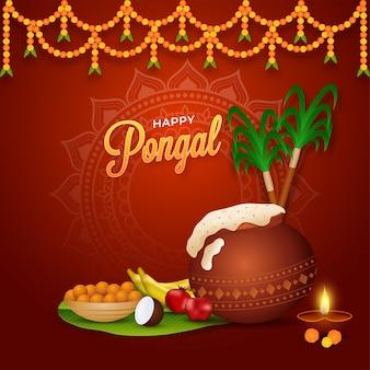 Concepto happy pongal con plato tradicional en olla de barro