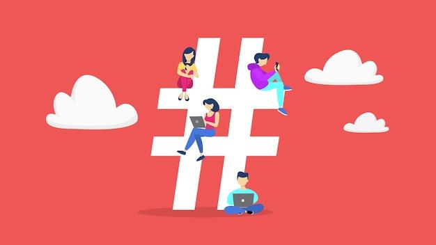Concepto de hashtag. idea de una red social