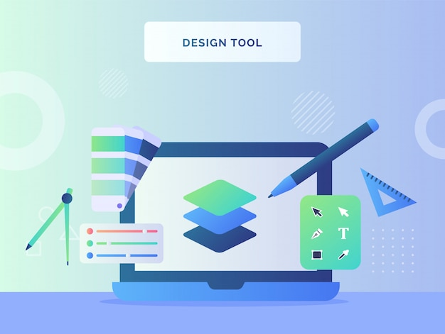 Concepto de herramienta de diseño, color de paleta de capa de lápiz en pantalla, monitor de computadora portátil con estilo