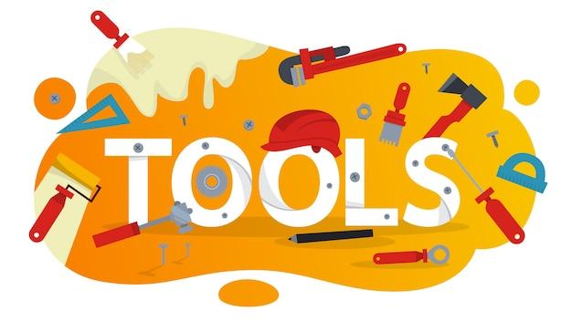 Concepto de herramienta de mano. equipo para la reparación