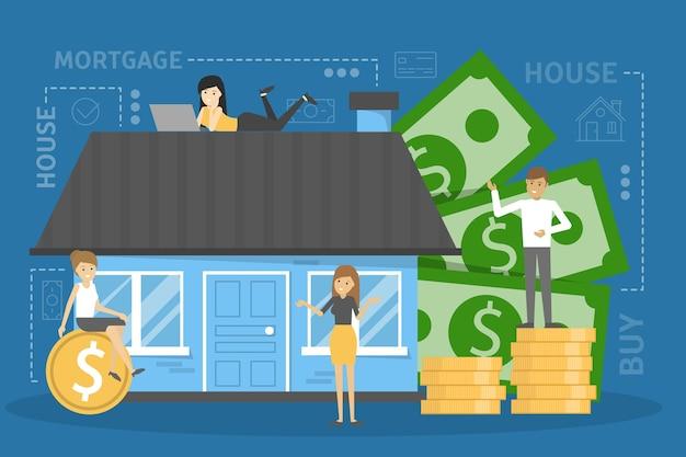 Concepto de hipoteca. idea de un préstamo inmobiliario