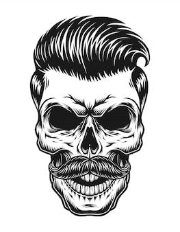 Concepto de hipster vintage cráneo monocromo