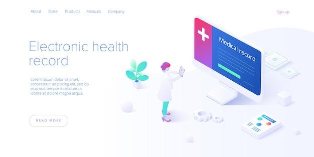 Concepto de historia clínica electrónica en isométrico. médico varón o médico con base de datos ehr en smartphone. sistema de almacenamiento de datos de pacientes médicos o sanitarios. plantilla de diseño de banner web.