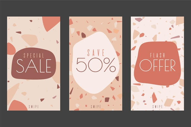 Concepto de historias de instagram con tema de ventas en terrazo y estilo de dibujo