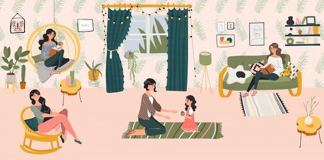 Concepto de hogar hygge, mujeres y niñas solo en la sala de estilo escandinavo pasando tiempo en la acogedora ilustración del hogar.