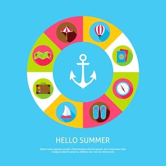 Concepto hola verano. ilustración de vector de círculo de infografías de vacaciones de mar con iconos.