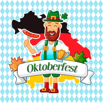 Concepto de hombre alemán oktoberfest, estilo de dibujos animados
