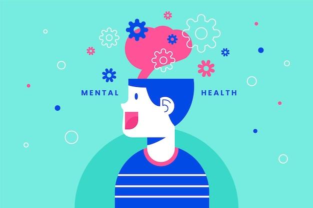 Concepto de hombre feliz de salud mental mundial