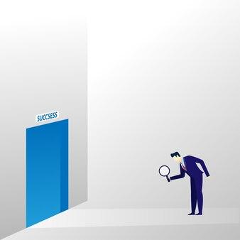 El concepto del hombre de negocios encuentra el camino hacia el éxito