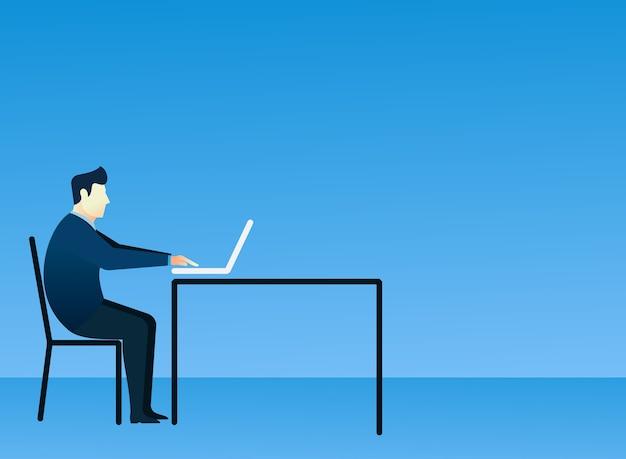 Concepto de hombre de negocios de personas se sientan usando la computadora portátil