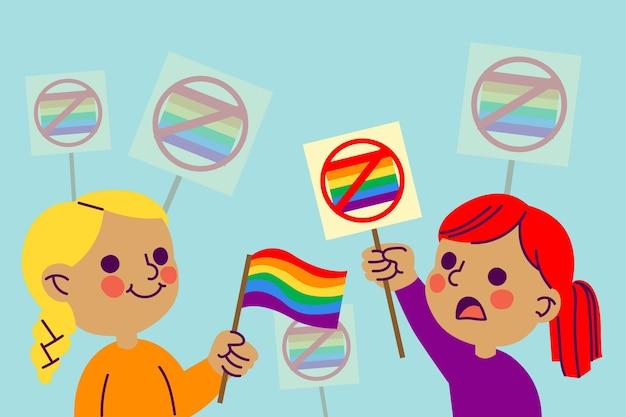 Concepto de homofobia con bandera